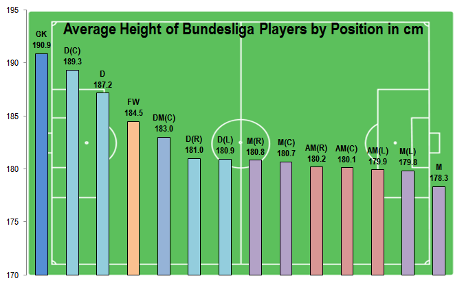 Average Height of Bundesliga Players by Position in cm